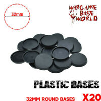 [20pcs x 32mm] Round Bases Model for Wargames and Gaming Miniatures Plastic Base