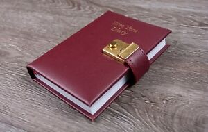 Real Leather A6 Five Year Diary With Lock & Key Five Year Journal Book UK Made
