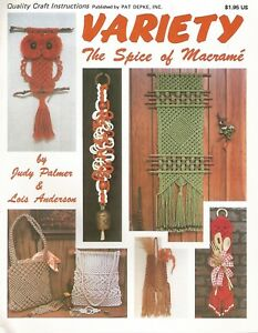 Variety The Spice of Macrame Judy Palmer Instruction Pattern Book 1978 NEW
