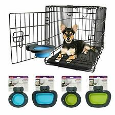 Collapsible Dog Kennel Crate Bowl - 2 Sizes, 2 Colours 1,2 & 3pack Available