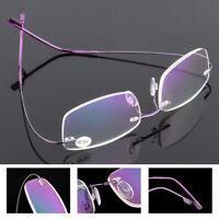 Ultralight Titanium Rimless Rectangular Reading Glasses Spectacles Eyewear