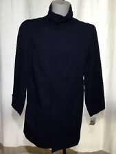 Women's LONDON FOG Signature Navy Blue Raincoat Mac Coat + Hood Stand Collar 36S