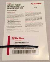 New McAfee Antivirus Plus 2014 Full Version Key Card Windows (3 User)
