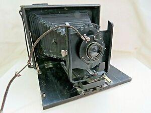 Vintage Folding Bellows Plate Camera & Plates. AGC Vario Laack - Polyplan 1:7.2