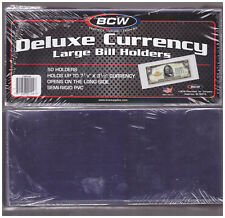 (50) LARGE BCW DELUXE CURRENCY SLEEVE BILL PAPER NOTE MONEY HOLDERS SEMI RIGID
