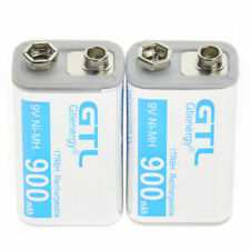 2pcs Durable 9V 900mAh Power Ni-Mh Rechargeable Battery Cell PPS block White