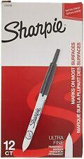 1735790 Sharpie Retractable Permanent Marker Ultra Fine Black Ink Box Of 12