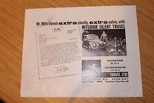Vw volkswagen beetle & vw 1500 intérieur silencieux voyage publicité dépliant années 1960