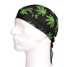 Bandana pañuelo cabeza negro dibujo hojas verdes marihuana - casual - deportiva