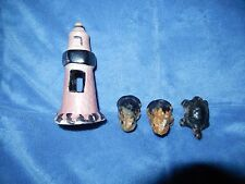 4 Vtg Mini Frogs + Turtle + Lighthouse Ceramic Aquarium Ornament Japan Unused
