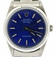 Rolex Air King Mens Stainless Steel Watch Oyster w/ Submariner Blue Dial 14000
