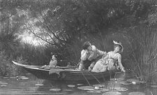 PRETTY WOMAN COUPLE LOVERS in BOAT on Lake in England ~ 1877 Art Print Engraving