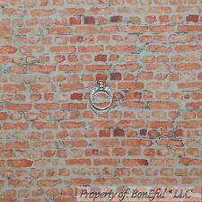 BonEful Fabric FQ Cotton Quilt Gray Clay Red Tone Brick Stripe Pattern Print VTG