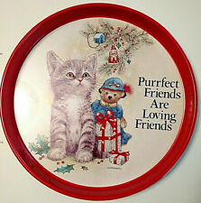 Group of 6 Purrfect Friends are Loving Friends Metal Cat Cookie Tray Platters