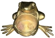 Frog Shape Handmade Brass Candle Stand Incense Cone Burner Temple Oil Wick Lamp