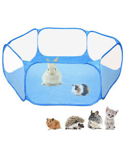 Blue Waterproof Portable Yard Fence Tent Playpen for Small Pets (a)
