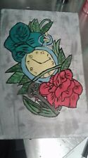 clock and flower painting on wood home decor art timeless