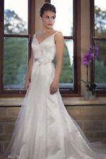 Satin V Neck A-line Regular Wedding Dresses
