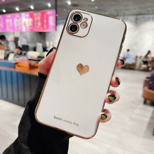 For iPhone 12 Pro Max 11 XS XR 7 8 Plus Cute Plating Heart Soft Phone Case Cover