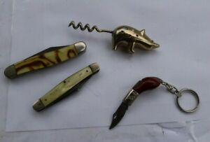 LOT Vintage Folding Pocket Knives Camillus Camco Pig Corkscrew Top Art Mini LOOK
