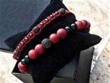 Mens & Womens Beaded Bracelet Macrame With Zircon Gems/ 8MM Red Vein Double Set