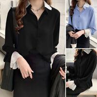 Mode Femme Chemise Simple  Couture en Dentalle Manche Longue Haut Shirt Plus