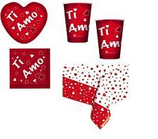 KIT N. 16 TAVOLA SAN VALENTINO TI AMO CUORE FESTA LOVE PARTY AMORE ROSSO CENA
