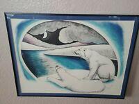 Polar Bears Hand Colored Autographed Original Art Paper Print Shane Slayer 80