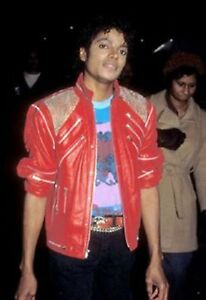"""Michael Jackson Beat it """"MJ Beat it"""" Real Leather Jacket with real metal mesh"""