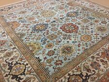 """Persian Oriental Rug Square Serapi Hand Knotted Light Blue Beige 7'.9"""" X 7'.9"""""""
