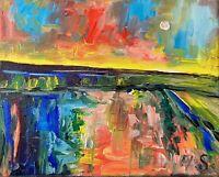 Oil Painting IMPRESSIONISM SAILBOAT SEASCAPE NAUTICAL SKY Ocean Sunset Impasto