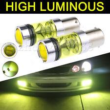 pair 12v 1156 BA15S 100W LED Fog Light Cree 2323 LED DRL Projector Bulb Yellow