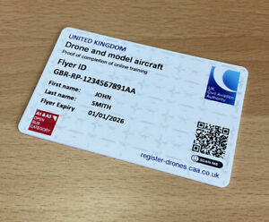 CAA DMARES printed to ID card - A1 A3 Drone ID Card Remote Pilot + 3 Stickers
