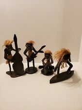 T1 VTG Hand Carved Tribal Tiki Wood African Art Carving Lot of 4 Surf Band