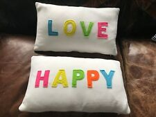 "Deko Kissen Set 2tlg. 30 x 50 cm mit Inlay ""HAPPY + LOVE"" Bunt"
