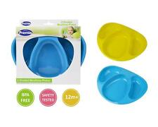 2 Divided Mealtime Feeding Plates Bowls Baby Toddler Blue Yellow BPA Free