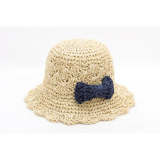 Children Girls Summer Beach Bow Straw Caps Bucket Hats Sunhat Panama Crushable