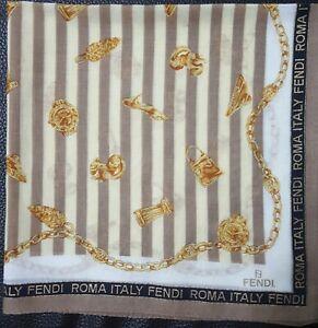 """FENDIUnisex Vintage Gold Accessories Chain Striped Cotton Thin Handkerchief 17"""""""