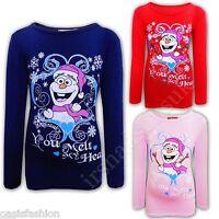 enfants filles Pull Noël Nouveauté Freaky Bonhomme de neige t-shirt haut legging