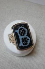 B Initial Ring Victorian Belle Epoque 14K Intaglio c1880 Rare Antique Jewelry