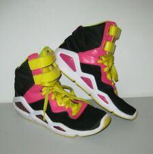 Womens sz 7 Reebok Hexalite Hi-Tops Basketball Sneakers Yellow Black Pink Retro
