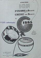 PUBLICITE GIBBS POUDRE CREME DE BEAUTE SIGNE EREL DE 1924 FRENCH AD PUB ART DECO