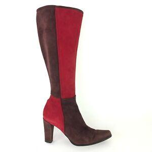 Stuart Weitzman Colorblock Tall Boot Red Brown Boho VTG Heel Womens Size 6 B