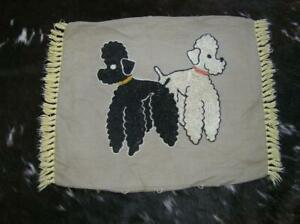 "Vintage 1940's Poodle Pair embroidery Pillow Cover 23"" x 17"" Charming!"