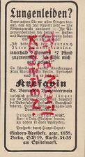 BERLIN, Werbung 1931, Einhorn-Apotheke Krefavin Buchen-Teer-Wein Lungen-Leiden