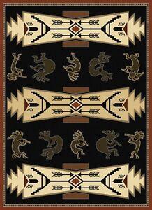 "Rug Southwestern Flute Playing Kokopelli & Arrows Trade Winds 5'3""x 7'2  #6770"