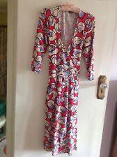 Betty Jackson Studio Faux Wrap Midi Dress with geometric pattern, Size 16