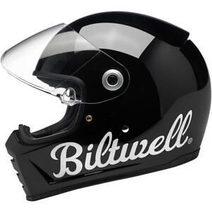 Biltwell Lane Splitter Motorcycle Helmet - Gloss Black Factory - Choose Size