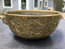Antique Chinese Bronze Censer Incense Burner Xuande With Dragon, Lion, Warriors