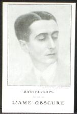 """CPA carte postale Editions Plon pour """"L'Ame obscure"""" de Daniel-Rops 1930 NM"""